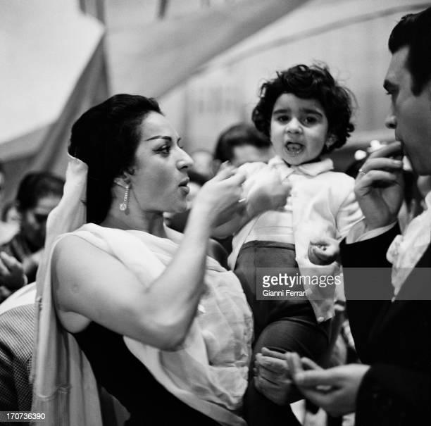 The Spanish singer and dancer Lola Flores with her son Antonio Madrid Castilla La Mancha Spain