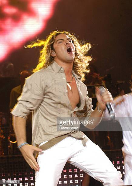 """The Spanish singer David Bisbal performing during the 40th Anniversary of the """"40 Principales"""" in the Vicente Calderon Stadium, 17th June 2006,..."""