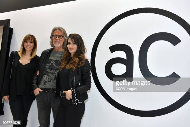 The Spanish singer Gisela and Spanish actress Sara Sálomo visit the stand of the famous hairdresser and stylist Alberto Cerdán in the Cosmobeauty...