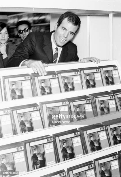 The Spanish singer Julio Iglesias at a store with their albums Madrid Castilla La Mancha Spain