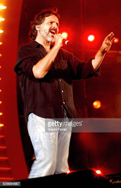 "The Spanish singer Miguel Bose performing during the 40th Anniversary of the ""40 Principales"" in the Vicente Calderon Stadium, 17th June 2006,..."