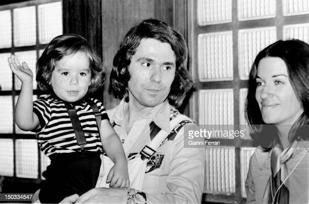 The Spanish singer Raphael with his wifethe journalist Natalia Figueroa and his son Manuel Madrid Spain
