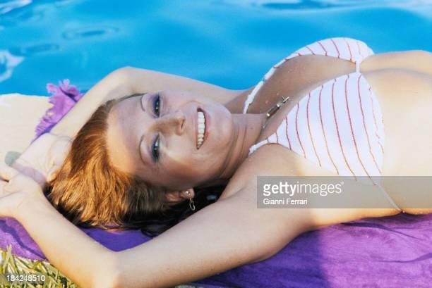 The Spanish singer Rocio Jurado in the pool at her house Madrid Castilla La Mancha Spain