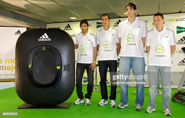 The Spanish soccer player Raul Gonzalez athlete Arturo Casado basketball player Carlos Suarez and athlete Rafael Iglesias attend the 'micoach' launch...