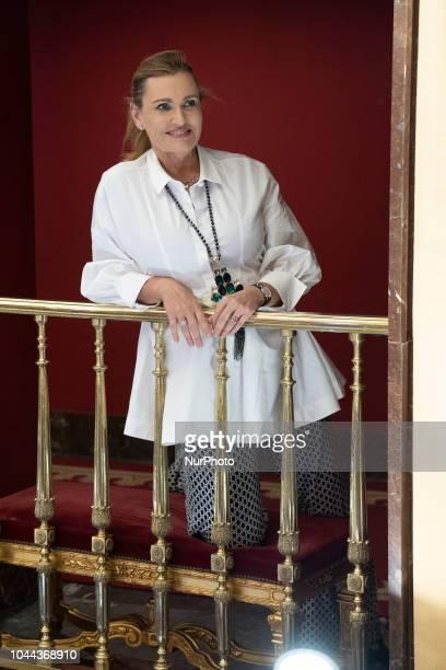 The Spanish soprano Ainhoa Arteta poses during the session of portraits at the tetro de la zarzuela in Madrid Spain October 1 2018