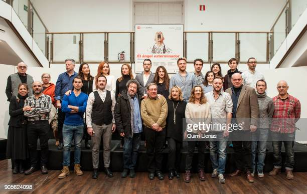 The Spanish stage director Blanca Portillo surrounded by the entire company poses for a photo shoot after the press conference for the play 'El angel...