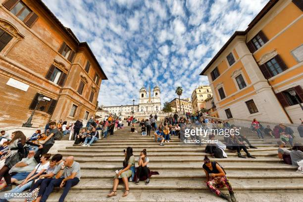 The 'Spanish Steps' is seen at Piazza di Spagna square on October 31 2017 in Rome Italy Rome is one of the most popular tourist destinations in the...