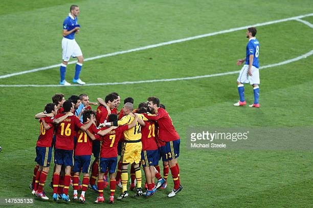 The Spanish team celebrate at the final whistle after the 40 victory during the UEFA EURO 2012 final match between Spain and Italy at the Olympic...