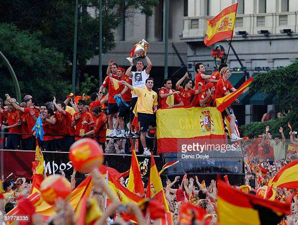 The Spanish team celebrate with fans at Plaza Colon after winning the UEFA EURO 2008 Final match between Germany and Spain on June 30 2008 in Madrid...