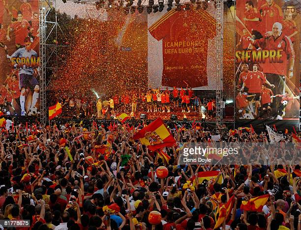 The Spanish team celebrate with fans at Plaza Colon after winning the UEFA EURO 2008 Final match between Germany and Spain 2008 on June 30, 2008 in...