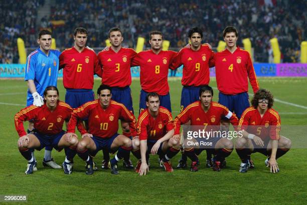 The Spanish team line up for a team group photograph before the International Friendly match between Spain and Peru at The Olympic Stadium on...