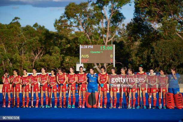 The Spanish team line up for the national anthems during game three of the International Test match series between the Australian Hockeyroos and...