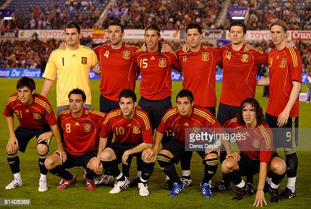 The Spanish team linesup before a friendly international soccer match against the US at El Sardinero stadium on June 4 2008 in Santander Spain