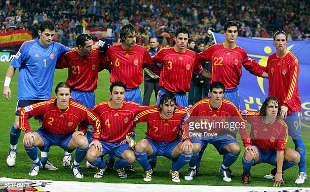 The Spanish team line-up for a photograph before a World Cup qualifier play-off first leg match between Spain and Slovakia at the Vicente Calderon...