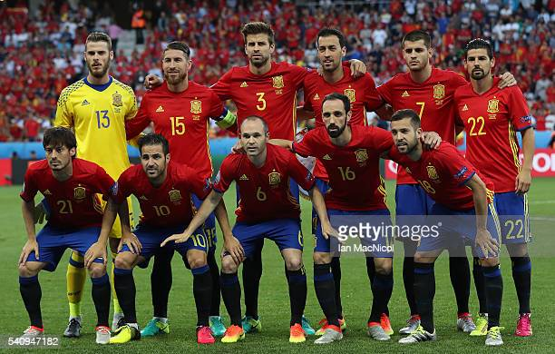 The Spanish team pose for a photograph during the UEFA EURO 2016 Group D match between Spain and Turkey at Allianz Riviera Stadium on June 17 2016 in...