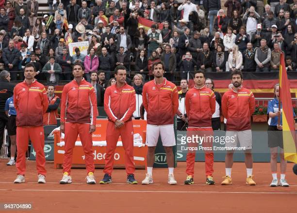 The Spanish team Sergi Bruguera Rafael Nadal Roberto Bautista Agut Feliciano Lopez David Ferrer and Marc Lopez during day one of the Davis Cup World...