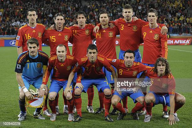 Spain's striker Juan Manuel Mata Spain's defender Sergio Ramos Spain's defender Joan Capdevila Spain's midfielder Xabi Alonso Spain's defender Gerard...