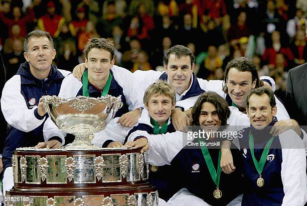 The Spanish team with the Davis Cup Trophy at the Davis Cup by BNP ParibasWorld Group Final between Spain and United States of America at the Estadio...
