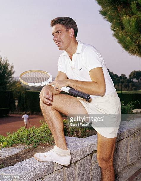 The Spanish tennis player Manolo Santana during a training Madrid Castilla La Mancha Spain