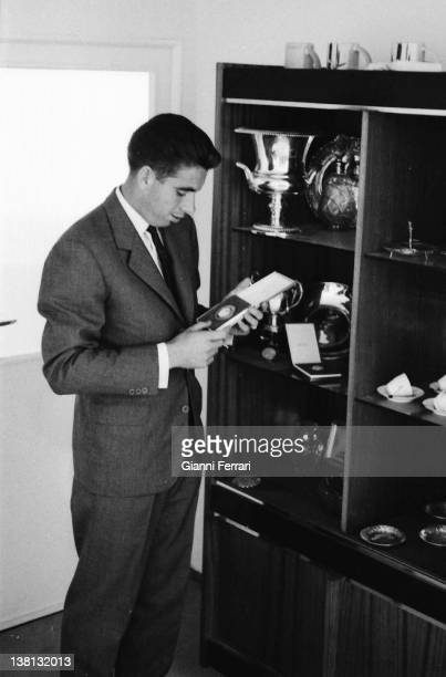 The Spanish tennis player Manolo Santana in his house with his trophies Madrid Spain