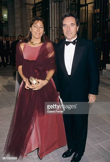 The Spanish TV presenter Inaqui Gabilondo with his wife Lola Carretero Madrid Spain