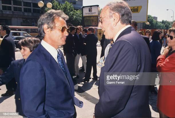 The Spanish TV presenter Joaquin Prat with the bullfighter Palomo Linares 20 October 1996 Madrid Castilla La Mancha Spain