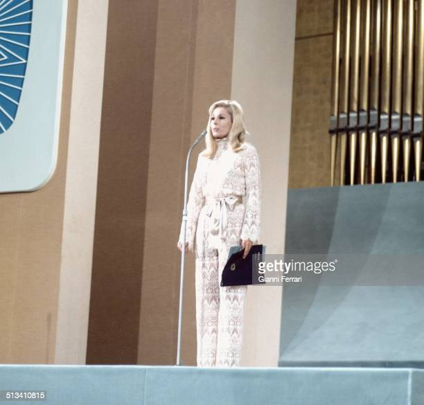 The Spanish TV presenter Laura Valenzuela in the Festival of the Eurovision Song Madrid Spain