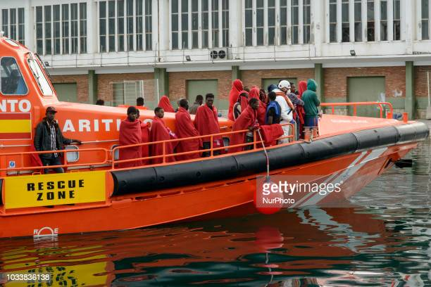 The Spanish Vessel Alnitak arrives at the Malaga harbour with 64 rescued persons onboard on September 14 2018 Malaga
