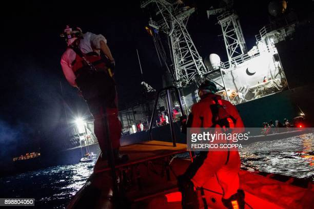 The Spanish war ship Santa Maria is seen during a migrants rescuing operation by SOS Mediterranee and Medecins sans Frontieres NGOs in the...