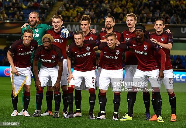 The Sparta Prague team pose before the UEFA Europa League Quarter Final first leg match between Villarreal CF and Sparta Prague at El Madrigal on...