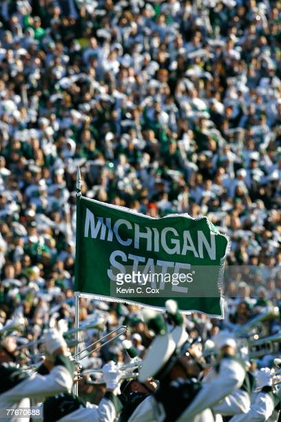 The Spartan Marching Band performs during pregame before the 100th meeting between the Michigan State Spartans and the Michigan Wolverines at Spartan...