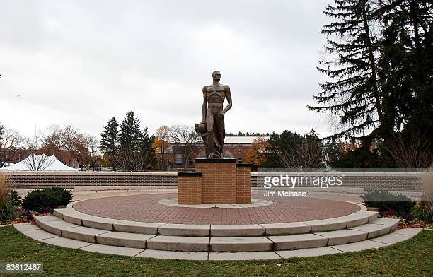 The Spartan statue is seen prior to the game between the Michigan State Spartans and the Purdue Boilermakers at Spartan Stadium on November 8 2008 in...