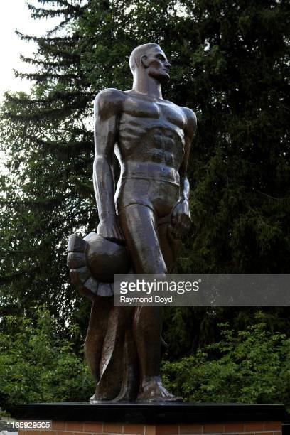 'The Spartan' statue stands on the campus at Michigan State University in East Lansing Michigan on July 30 2019 MANDATORY MENTION OF THE ARTIST UPON...