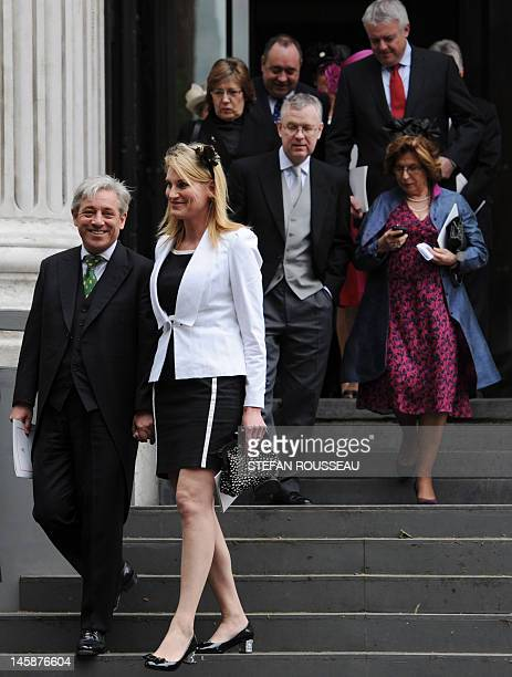 The Speaker of the British House of Commons John Bercow and his wife Sally leave after a national service of thanksgiving for the Queen's Diamond...