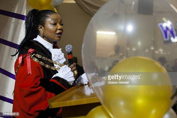 The Speaker of the Hackney Council councillor Susan Fajan Thomas addresses the Mountain of Fire and Miracles Ministries Church in Hackney Wick This...