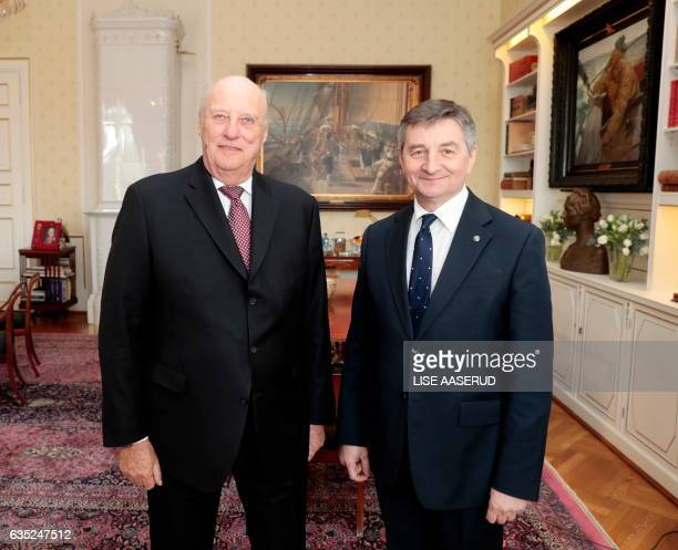 The speaker of the Polish Parliament Marek Kuchcinski is received by Norway's King Harald in the Royal Palace in Oslo 14 February 2017 / AFP / NTB...