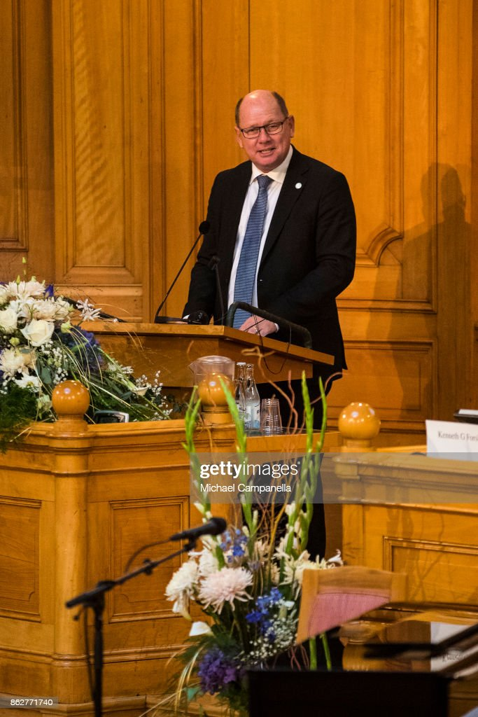 The Speaker of the Riksdag Urban Ahlin attend a seminar at Riksdag in connection with the centenary of Finnish Independence on October 18, 2017 in Stockholm, Sweden.