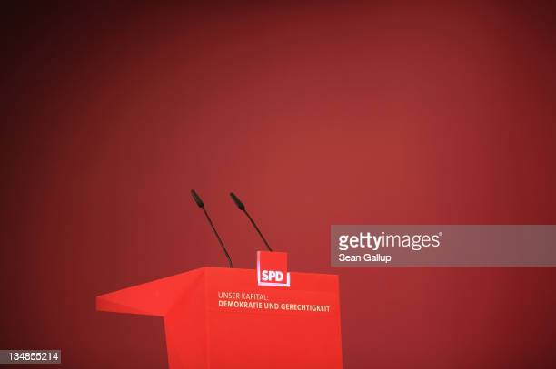 The speaker's podium stands vacant prior to the beginning of the annual federal congress of the German Social Democrats on December 4, 2011 in...