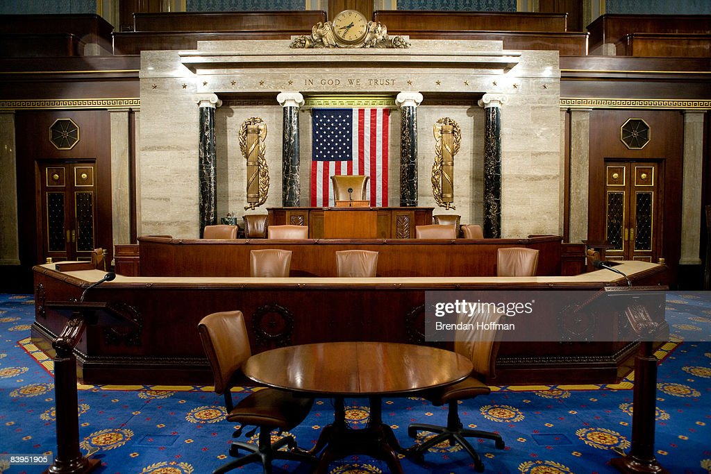 The Speaker's rostrum in the U.S. House of Representatives chamber is seen December 8, 2008 in Washington, DC. Members of the media were allowed access to film and photograph the room for the first time in six years.