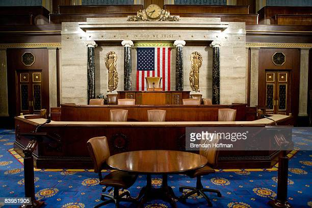 The Speaker's rostrum in the U.S. House of Representatives chamber is seen December 8, 2008 in Washington, DC. Members of the media were allowed...