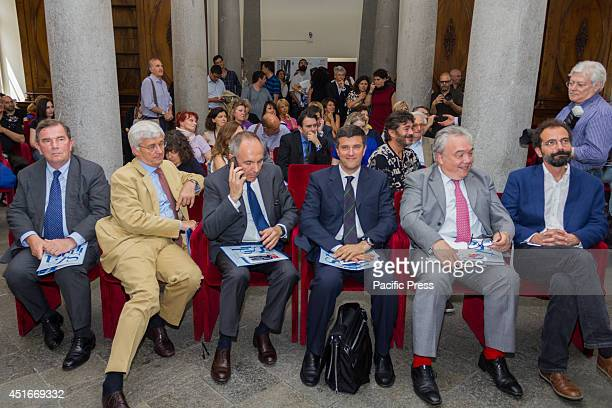 The speakers sit in front of the guests during the press conference on Festival Mozart 2014. It is the second edition of the Classical Music Festival...
