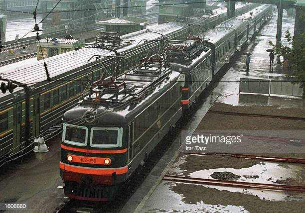 The special armored train, by which North Korean leader Kim Jong Il is travelling from the Far East to Moscow across Russia, is pictured during a...