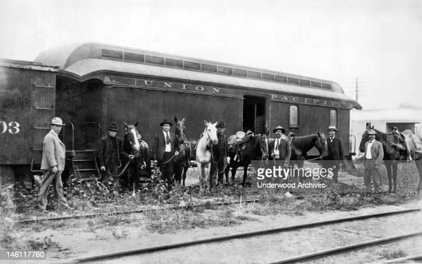 The special car of the Union Pacific Railroad for the mounted rangers organized by UP Special Agent Timothy Keliher to stop the Wild Bunch Gang led...