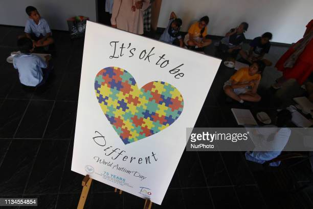 The special children participate in drawing activities during the celebration of World Autism Awareness Day in Mumbai India on 02 April 2019 As the...