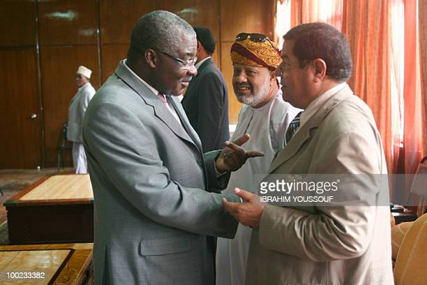 The special envoy for Francophony Ntole Kazadi speaks with League of Arab Countries special envoy Yousef Rahmania during internationallysponsored...