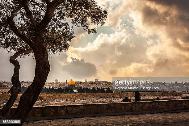 The spectacular view looking across from the Mount of Olives toward the Eastern Gate of the old city of Jerusalem, taken from the Dominus Flevit Church (built on the traditional spot where Jesus wept over the city)