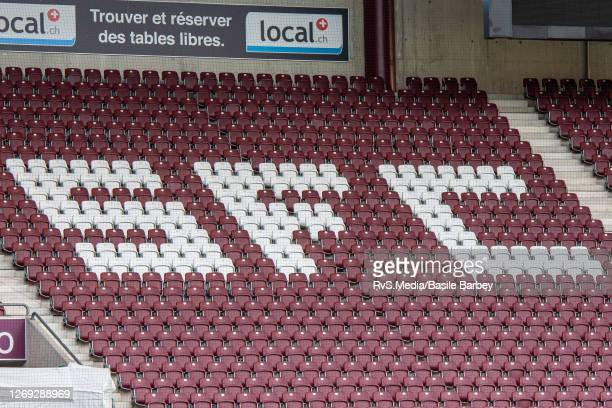 The spectator seats will remain empty due to the Covid-19 restrictions during the UEFA Europa League qualification match between Servette FC and MFK...
