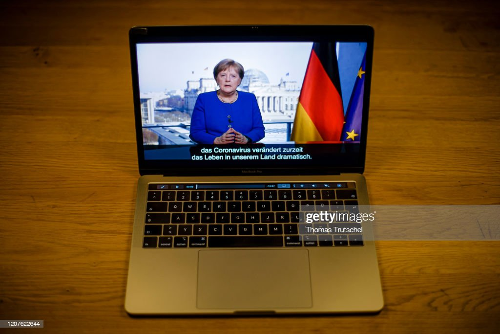 Merkel speaks About Corona Virus : News Photo