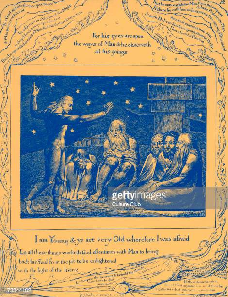 The Speech of Elihu by William Blake from the illustrations of the Book of Job 1825 Captions read 'For God speaketh once yea twice and Man perceiveth...