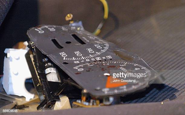 The speedometer of a car that crashed into the wall of the Hastings Exhibition Centre following a short police chase is seen October 13 2005 in...